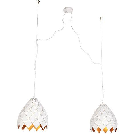 Suspensions Art Déco 2 Blanc et Or - Citrine Qazqa Art Deco Luminaire interieur