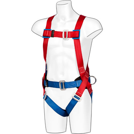 sUw - 2 Point Comfort Full Body Fall Arrest Harness, Red, One Size,