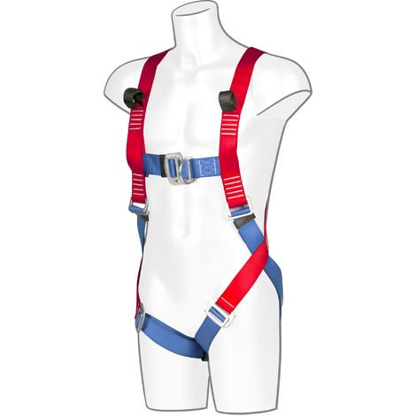 sUw - 2 Point Full Body Fall Arrest Harness, Red, One Size,
