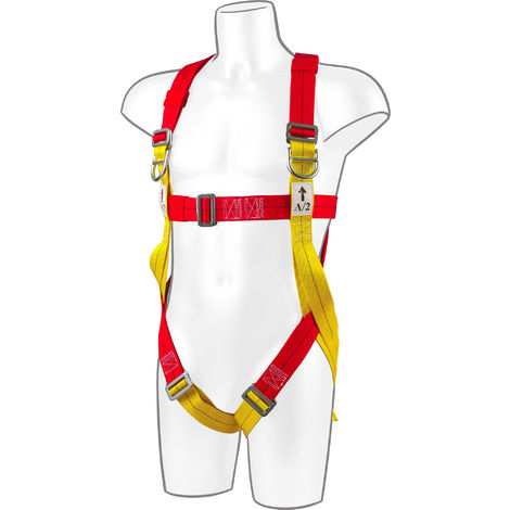 sUw - 2 Point Plus Full Body Fall Arrest Harness, Red, One Size,