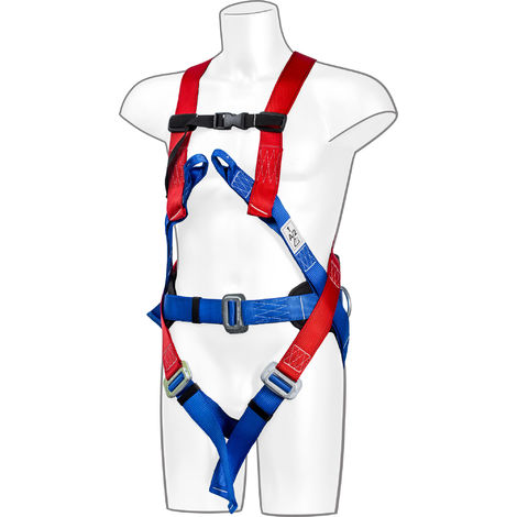 sUw - 3 Point Comfort Full Body Fall Arrest Harness, Red, One Size,