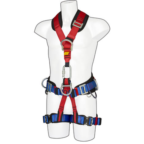 sUw - 4 Point Comfort Plus Full Body Fall Arrest Harness, Red, One Size,