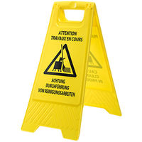 sUw - Euro Multilingual Cleaning In Progress Sign - Yellow