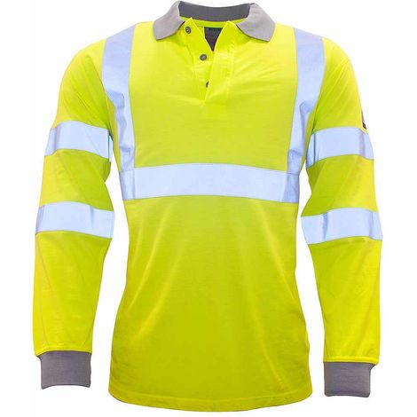 sUw - Flame Resistant Anti-Static Hi-Vis Safety Workwear Long Sleeve Polo Shirt