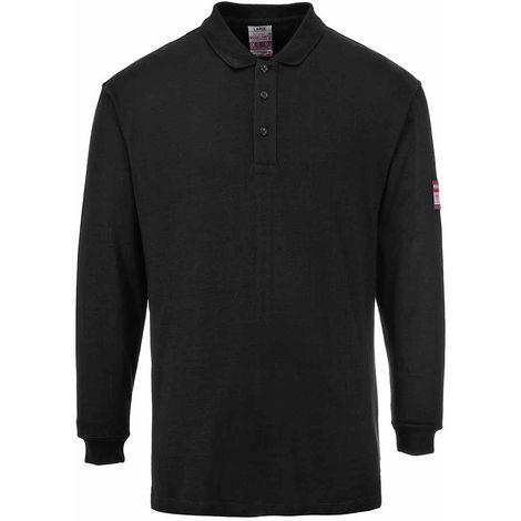 sUw - Flame Resistant Anti-Static Long Sleeve Polo Shirt, Black, 3XL,