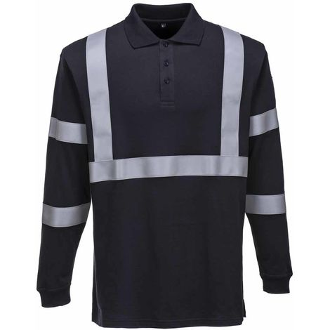 sUw - Flame Resistant Anti-Static Long Sleeve Polo Shirt -Reflective Tape