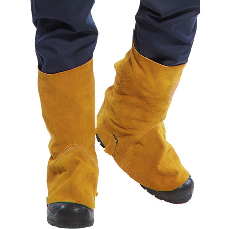 sUw - Flame Resistant Leather Welding Boot Covers, Tan, Regular,