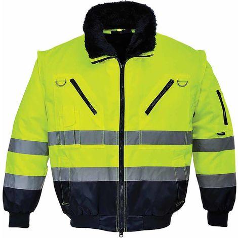 sUw - Hi-Vis All-Weather 3-in-1 Warm Luxury Fur Lined Outdoor Pilot Jacket