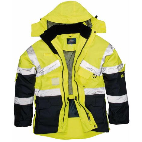 sUw - Hi-Vis Outdoor Workwear 2-Tone Breathable Jacket With Pack Away Hood