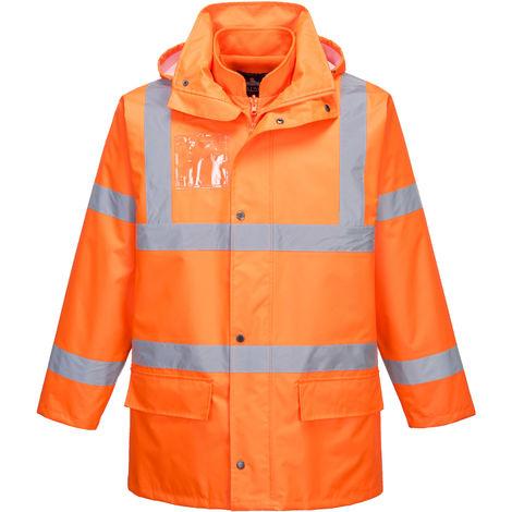 sUw - Hi-Vis Safety Workwear Essential 5-in-1 Jacket - Orange - Small