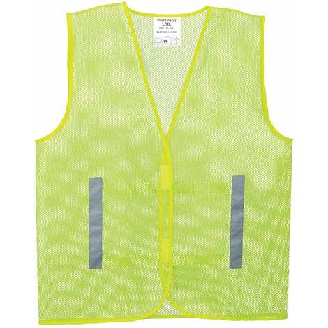 sUw - Hi-Vis Safety Workwear Mesh Vest, Yellow, 2XL-3XL,