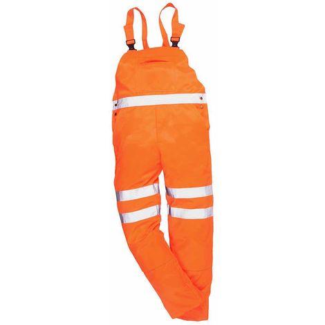 sUw - Hi-Vis Safety Workwear Rail Track Side Bib & Brace Dungarees RIS