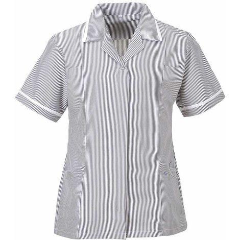 sUw - Ladies Striped Heath Care Workwear Tunic Jacket Top