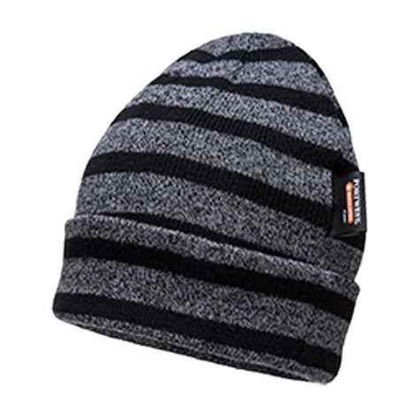 a1430fd1d71e2a sUw - Mens Insulatex Microfibre Lined Stripe Knit Beanie - Grey/Black -  B024G8R