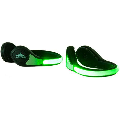 sUw - Pair of Ergonomic Illuminated LED Shoe Clip, Green, Regular,