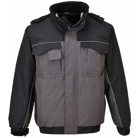 sUw - RS Uniform Workwear Durable Padded Bomber Jacket With Pack Away Hood