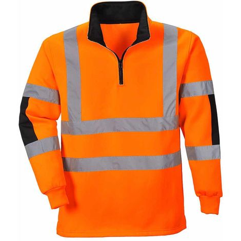 sUw - Xenon Hi-Vis Safety Workwear Long Sleeved Rugby Shirt