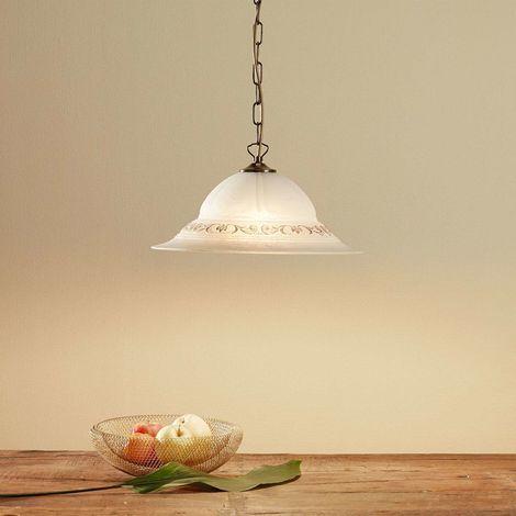 Svetlana glass pendant lamp with golden decoration