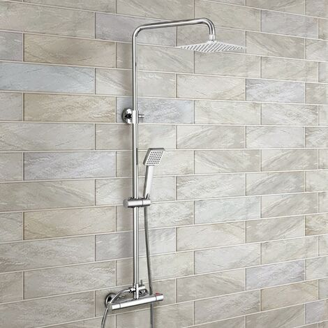 Swan Dual Control Square Slim Head Thermostatic Shower Mixer & Easy Fitting Kit