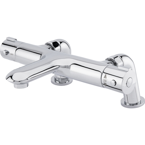 """main image of """"Swan Polished Chrome Deck Mounted Thermostatic Bath Shower Mixer Tap"""""""