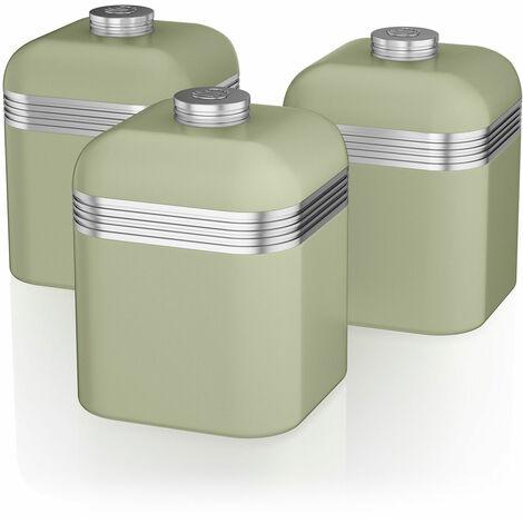 Swan SWKA1020GN Set 3 Botes metálicos de almacenamiento 1 litro, especias, té ,café, vintage diseño retro Verde
