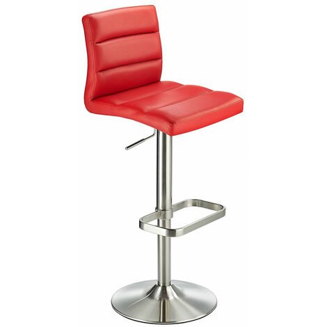 Swank Adjustable Padded Pvc Bar Stool Red Red