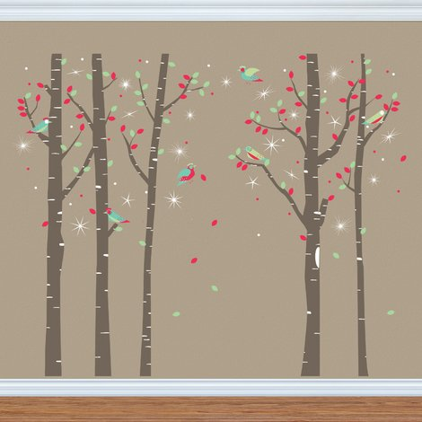 Swarovski Crystals & Birch Tree - 275cm x 227cm