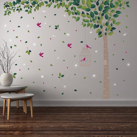 Swarovski Crystals & Green Tree Mural - 286cm x 180cm