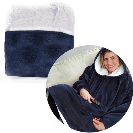 Sweat à capuche Peinoir Polaire pour la maison ou l'extérieur Vêtements chauds paresseux, Taille: 80 * 100 cm (bleu)