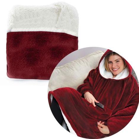 Sweat à capuche Peinoir Polaire pour la maison ou l'extérieur Vêtements chauds paresseux, Taille: 80 * 100 cm (Rouge)