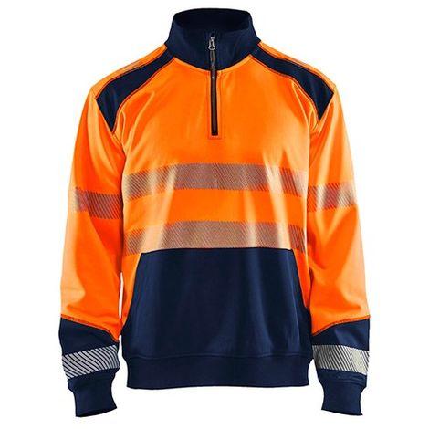 Sweat col camionneur haute-visibilité - 5389 Orange fluo/Marine - Blaklader