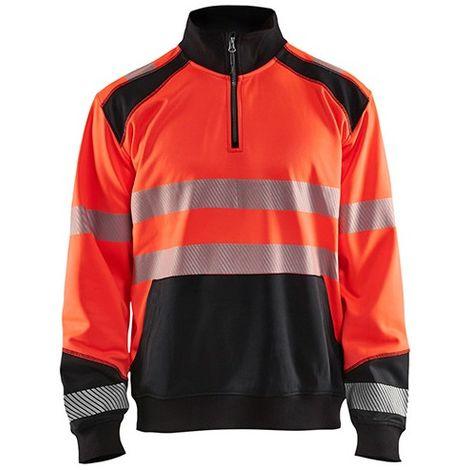 Sweat col camionneur haute-visibilité - 5599 Rouge fluo/Noir - Blaklader