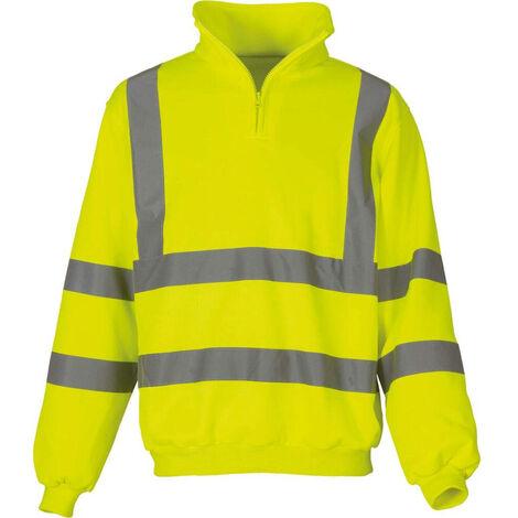 Sweat-shirt de travail col zippé haute visibilité Yoko Jaune