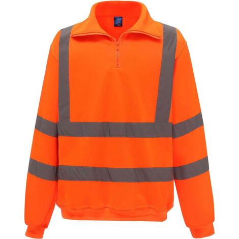 Sweat-shirt de travail col zippé haute visibilité Yoko Orange