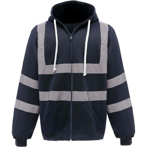 Sweat-shirt de travail zippé à capuche Yoko haute visibilité Bleu Marine