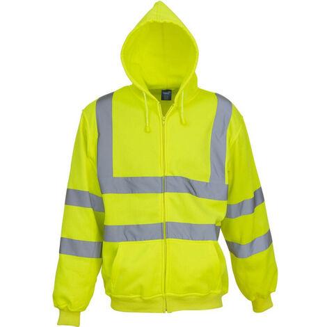 Sweat shirt de travail zippé à capuche Yoko haute visibilité Jaune Fluo L