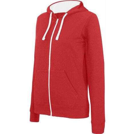 watch half price latest Sweat-shirt zippé capuche contrastée Kariban femme Rouge