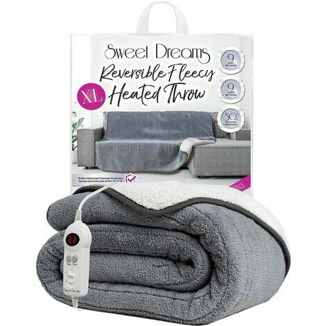 Sweet Dreams XL Reversible Grey Fleecy Heated Throw