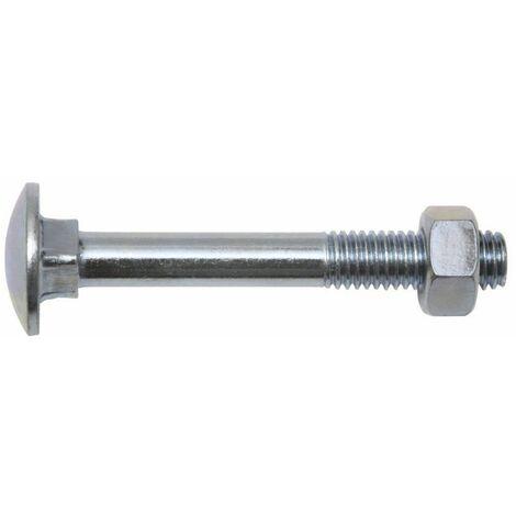 SWG Boulon tête ronde collet carré á tête cylindrique bombée avec écrou M8 x 50, zingué, DIN 603