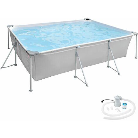 Swimming Pool rechteckig mit Filterpumpe 300 x 207 x 70 cm - Planschbecken, Gartenpool, Aufstellpool - grau