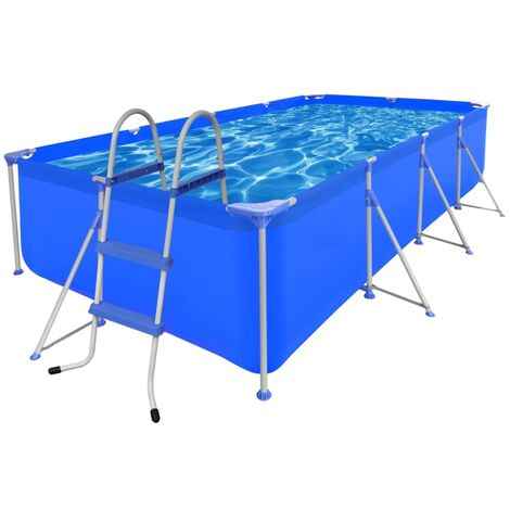Swimming Pool with Ladder 394 x 207 x 80 cm Steel
