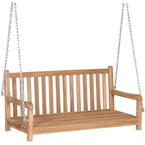 Swing Bench Solid Teak 120x60x57.5 cm Brown