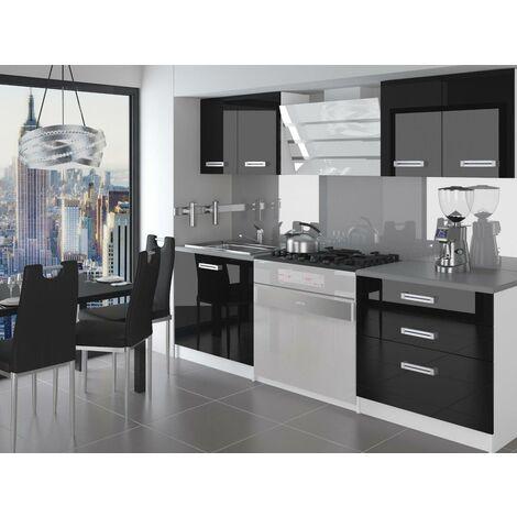 SWING - Cuisine Complète Modulaire + Linéaire L 120 cm 4 pcs - Plan de travail INCLUS - Ensemble armoires meubles cuisine - Noir