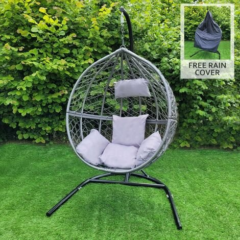 Swing Hanging Egg Chair Rattan Bench Garden Patio Outdoor Indoor Furniture Hammock Basket Seat Grey | with Cushions, Waterproof Cover and Stand