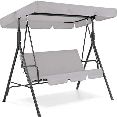 """main image of """"Swing Seat Canopies Replacement Canopy,Waterproof Top Cover&Seat Cover Dust Guard Protector Garden Patio Outdoor 3 Seater Sizes (Gray,190*132*15cm)"""""""