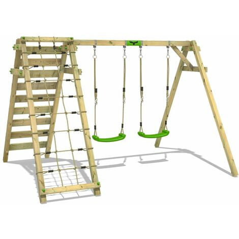 Swing Set FATMOOSE JollyJungle Wild XXL with DoubleSwing andclimbing extention