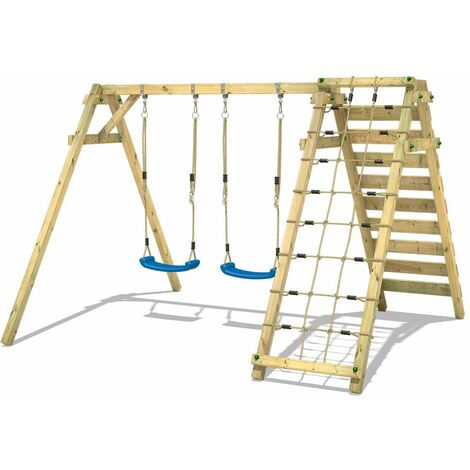 Swing Set WICKEY Smart Cliff with two swing seats and climbing net