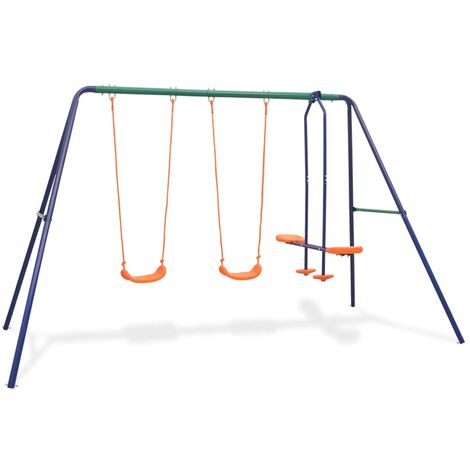 Swing Set with 4 Seats Orange - Orange