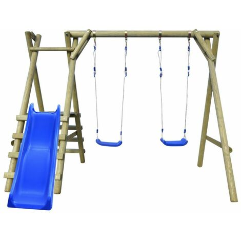 Swing Set with Ladders and Slide 270x255x210 cm Pinewood