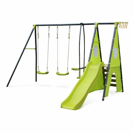 Swing with 5 pieces of accessories - Libeccio - Frame with two swings, 1 face to face swing, 1 slide, 1 basketball hoop, 1 climbing wall and 1 tipi tent